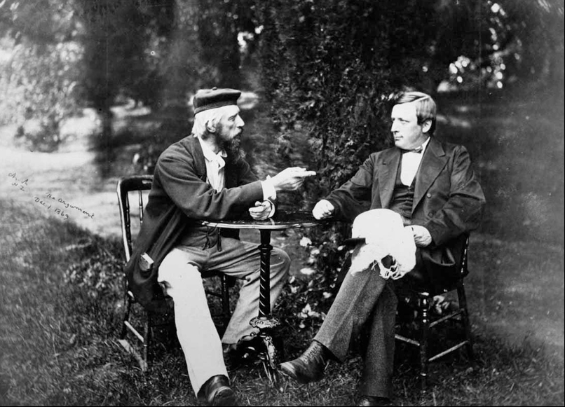 "Photgraph entitled ""The Argument"", showing Superintendents James Fitzgerald (Left) and William Rolleston (Right) in discussion. Image: Barker, 1869b."